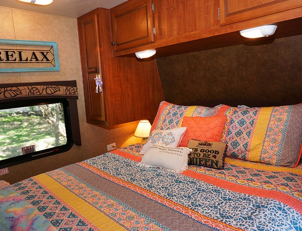 Master with Queen bed in front end of trailor
