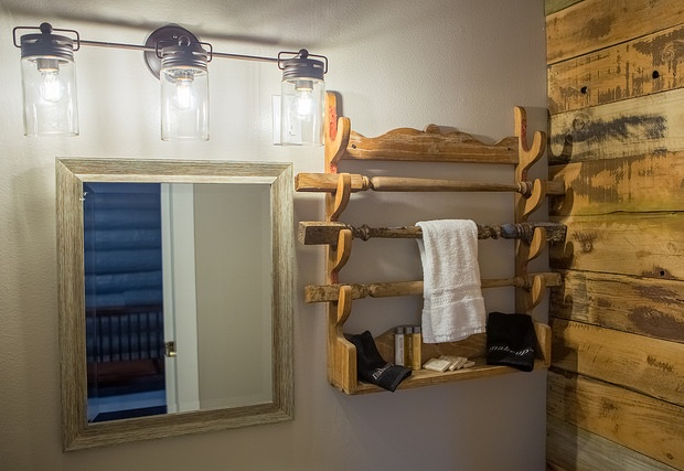 Bathroom mirror and towel rack