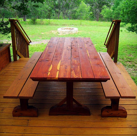 Picnic table looking at fire pit