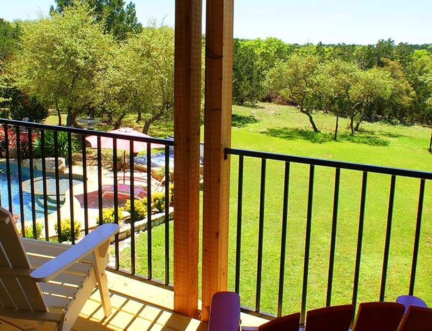 View of the manicured grounds from the Master bedroom balcony
