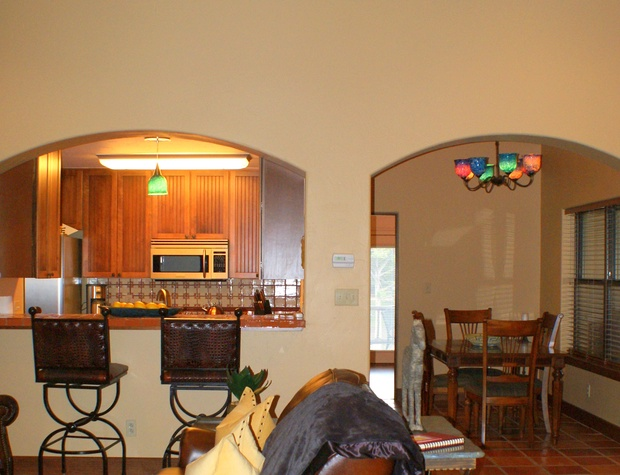 View of the kitchen and dining area from the living room