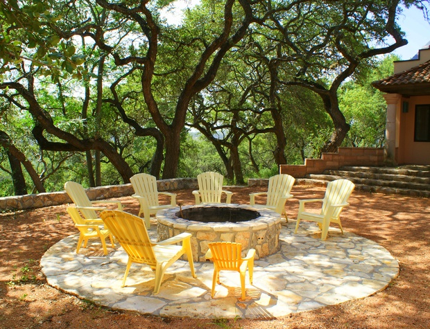 Large custom fire pit with Wimberley Valley views!