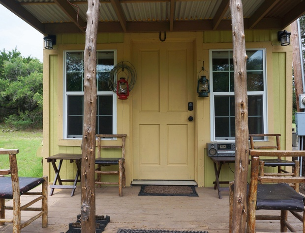 Front entry door of cabin