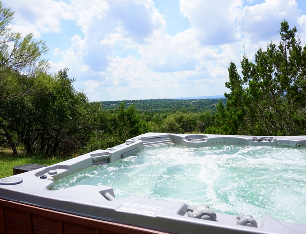 Large hot tub with a view.