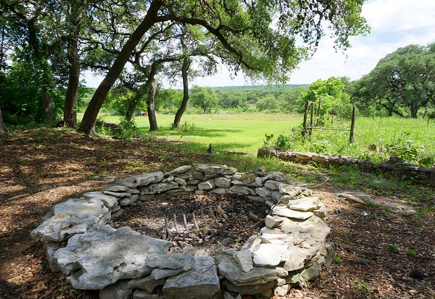 Fire pit with amazing hill country views!