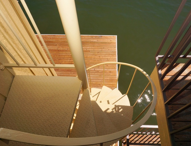 Stairs down to the deck