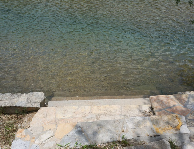 Steps into the water