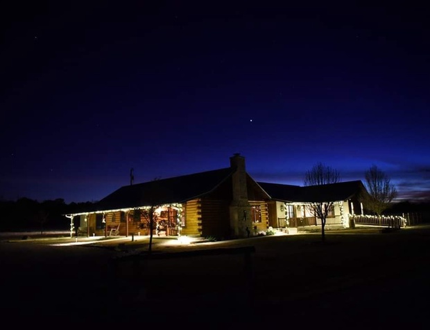 The cabin at night