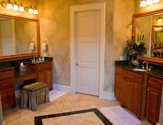 Large master bathroom with split vanities