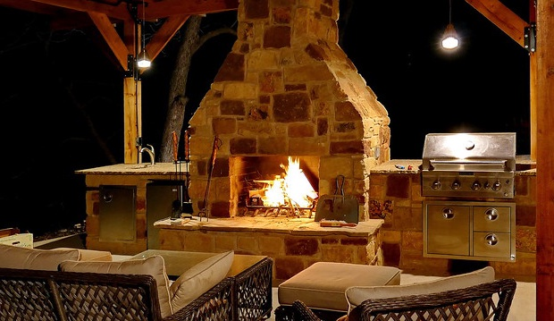 Fireplace in the outdoor patio
