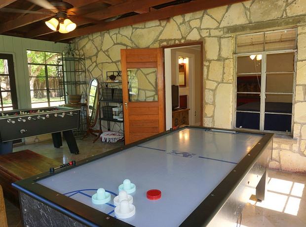Air Hockey table in pool casita