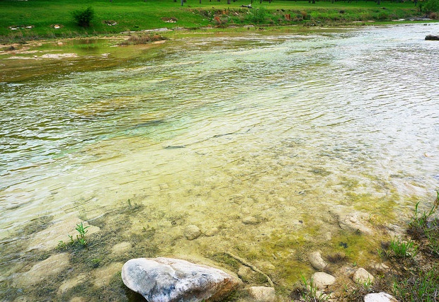 The clear water of the blanco river.