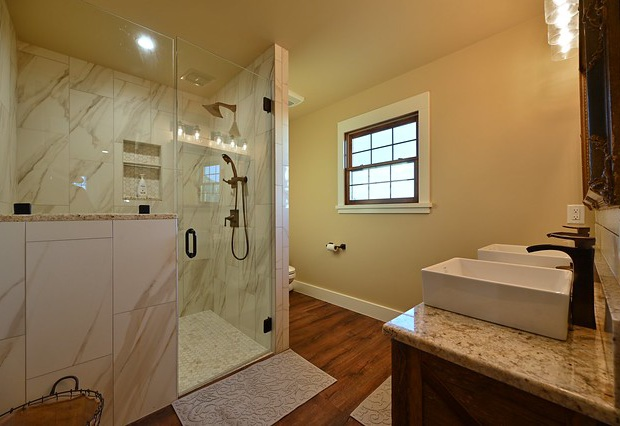 Walk-in shower in the master