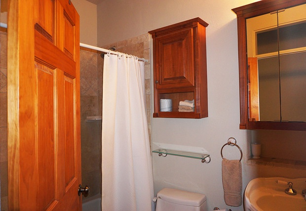Hall bath in the main house with tub/shower combo.