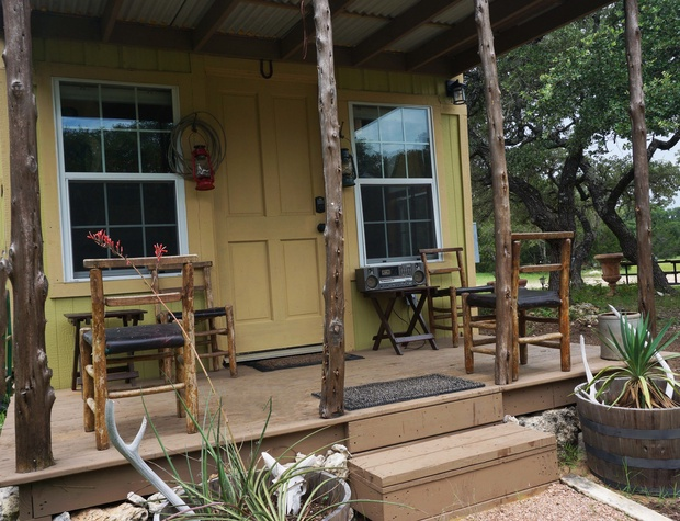 Front Porch of cabin with seating