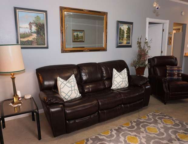 Seating area in living room.