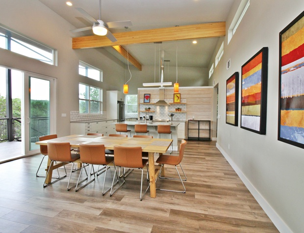 Dining room table with seating for eight