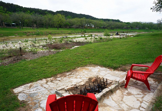 Looking upstream at the firepit