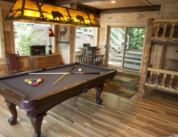 rec room door out to hot tub