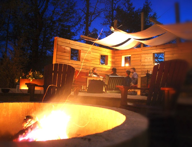 shared fire pit and dining