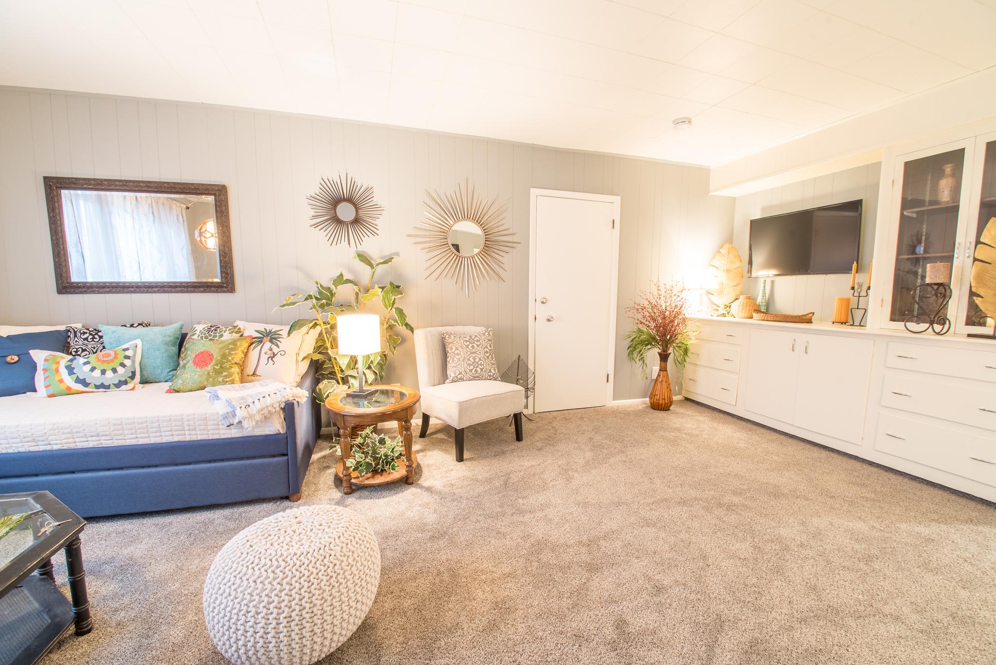 Living area featuring smart tv