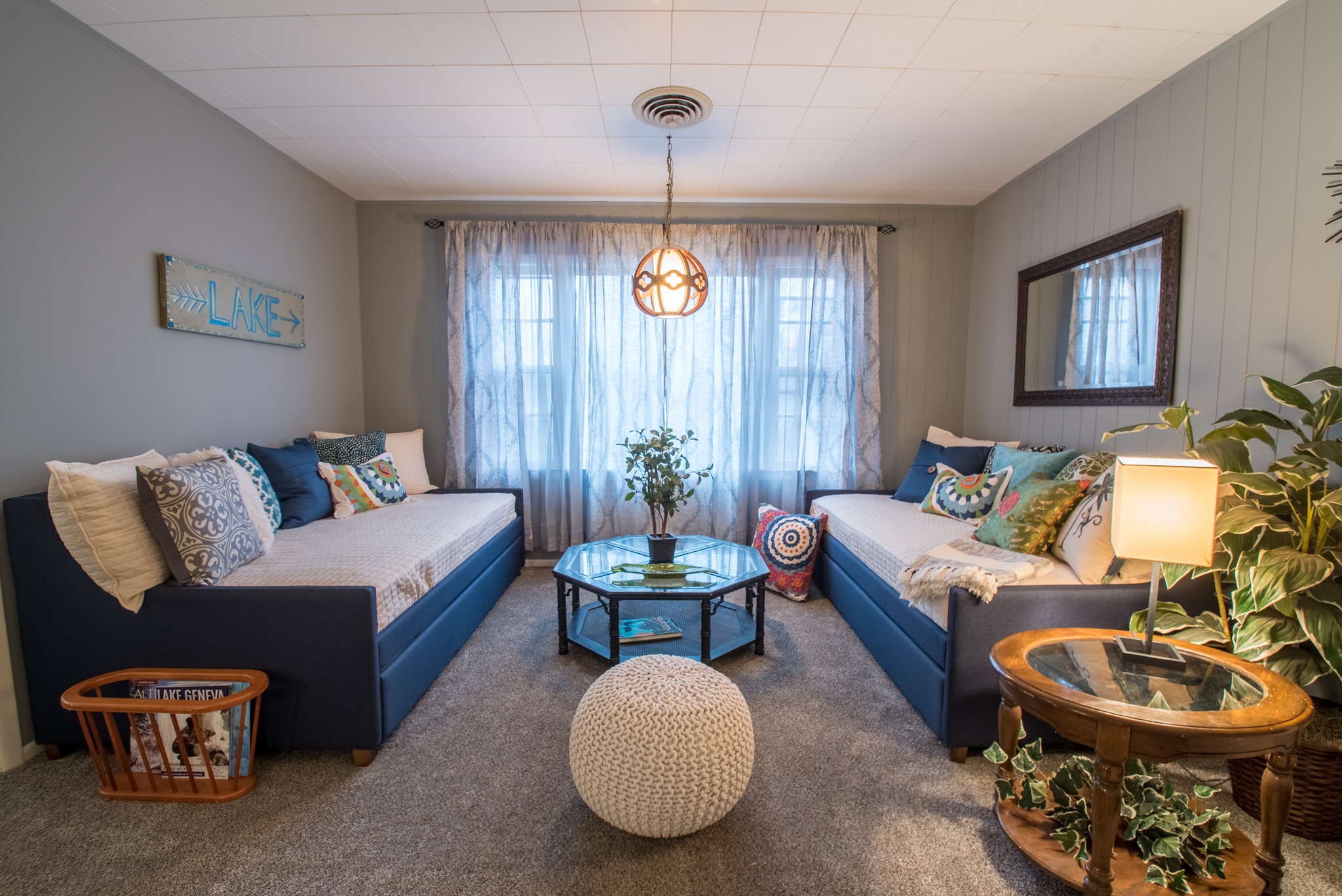 Huge boho-inspired living room with two pull out daybeds with trundles. Sleeps 4!